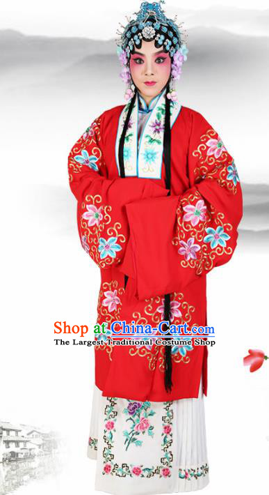 Chinese Traditional Beijing Opera Diva Red Dress Ancient Young Lady Embroidered Costume for Women