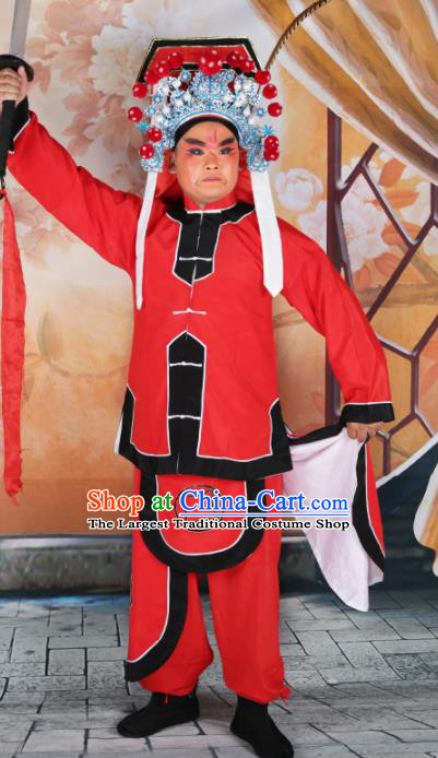 Chinese Traditional Beijing Opera Takefu Clothing Ancient Swordsman Red Costume for Men