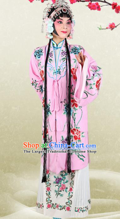 Chinese Traditional Beijing Opera Princess Pink Dress Ancient Palace Lady Embroidered Costume for Women