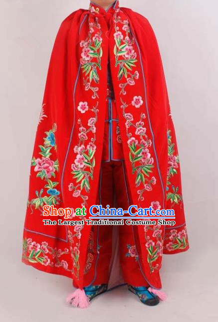 Chinese Traditional Beijing Opera Diva Embroidered Red Cloak Ancient Imperial Concubine Costume for Women