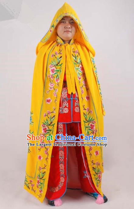 Chinese Traditional Beijing Opera Diva Embroidered Yellow Cloak Ancient Imperial Concubine Costume for Women