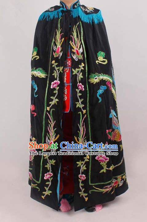 Chinese Traditional Beijing Opera Diva Embroidered Black Cloak Ancient Imperial Concubine Costume for Women