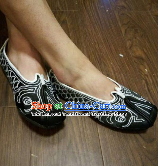 Traditional Chinese Beijing Opera Taoist Nun Embroidered Black Shoes Ancient Swordswoman Shoes for Women