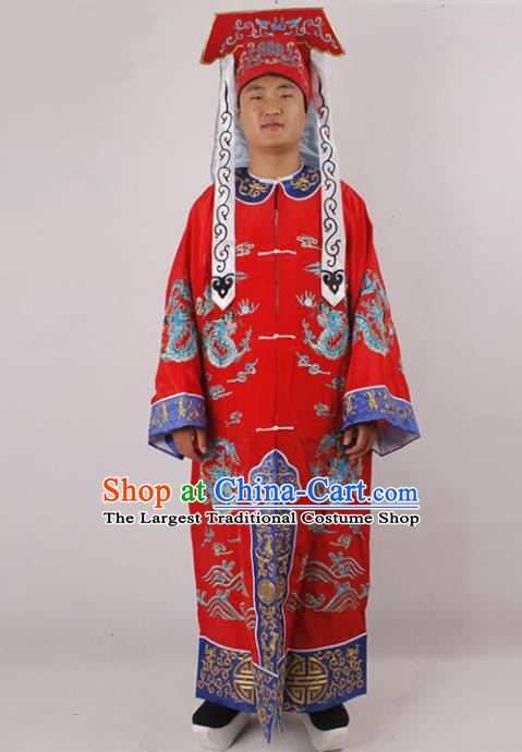 Chinese Traditional Beijing Opera Takefu Red Clothing Ancient Imperial Bodyguard Costume for Men
