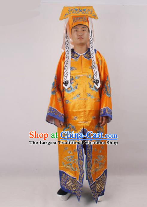 Chinese Traditional Beijing Opera Takefu Golden Clothing Ancient Imperial Bodyguard Costume for Men
