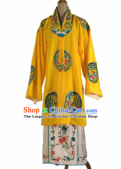 Chinese Traditional Beijing Opera Court Lady Yellow Dress Ancient Queen Embroidered Phoenix Costume for Women