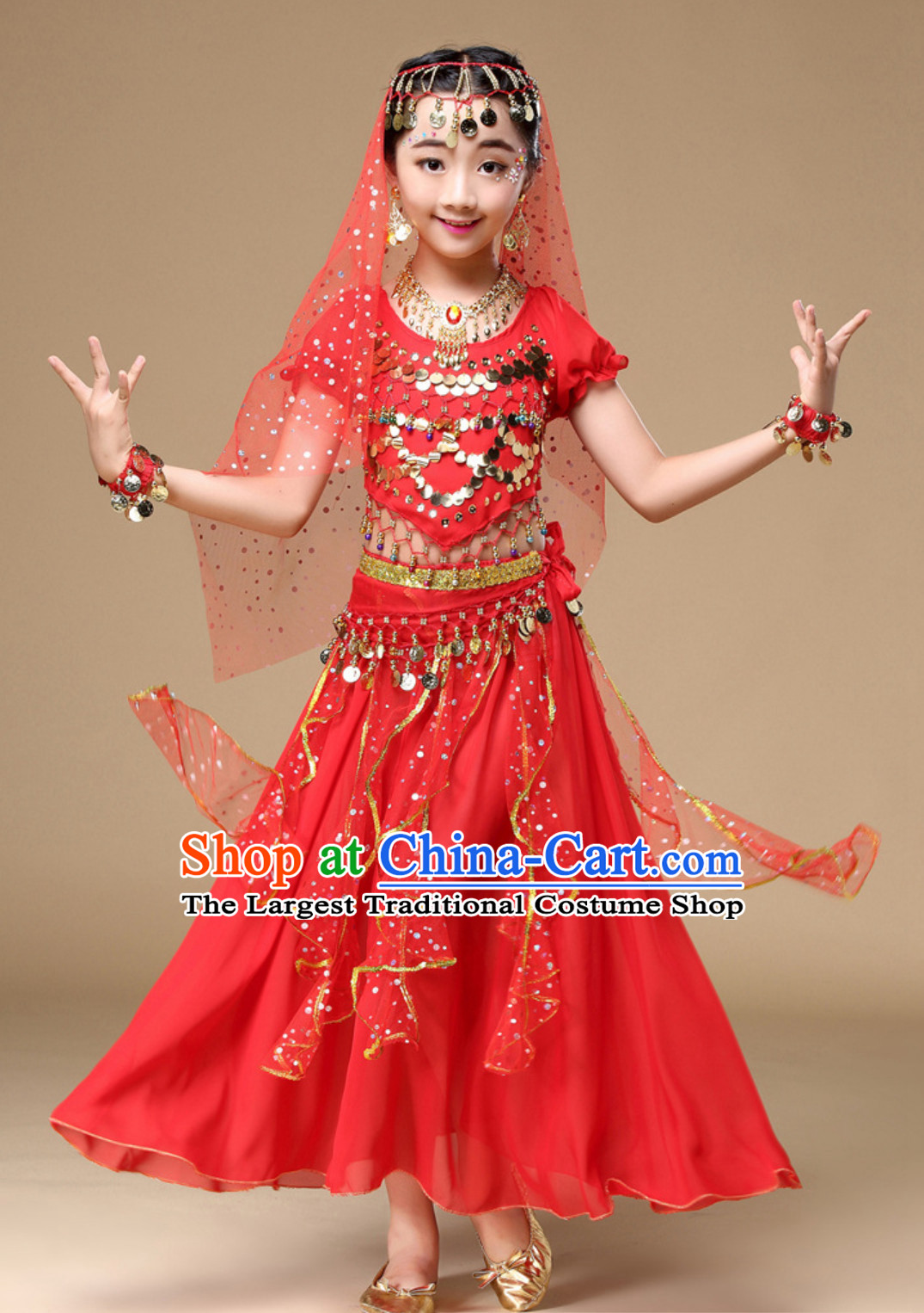 Indian Traditional Belly Dancing Dress Asian India Oriental Dance Costume for Kids