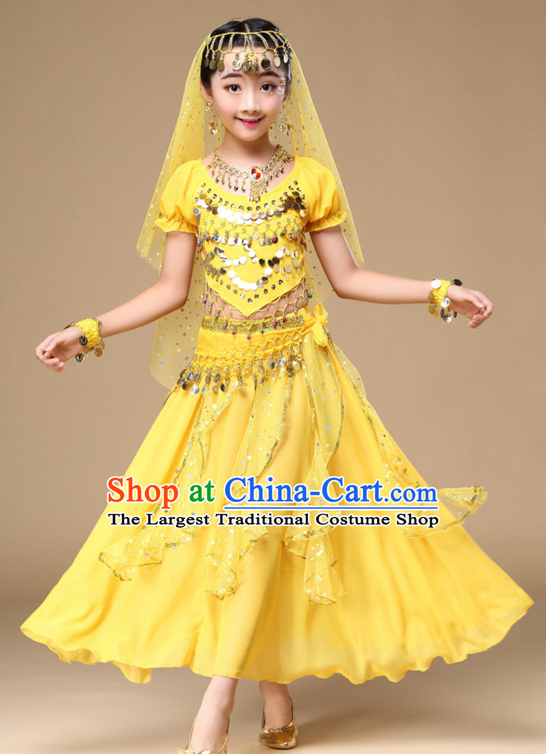 Red Indian Traditional Belly Dancing Dress Asian India Oriental Dance Costume for Kids