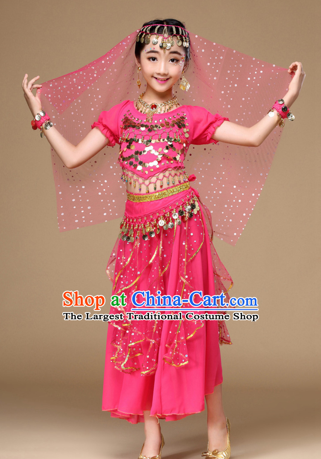 Indian Traditional Belly Dancing Costumes Asian India Oriental Dance Costume for Kids