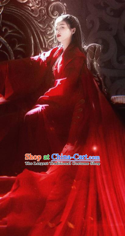 Chinese Drama Zhao Yao Traditional Costume Ancient Peri Princess Wedding Red Hanfu Dress for Women