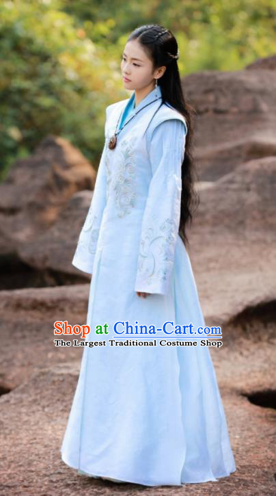 Chinese Drama Zhao Yao Princess Traditional Costume Ancient Nobility Lady Blue Hanfu Dress for Women