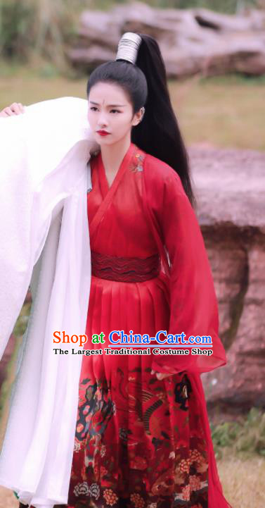 Chinese Drama Zhao Yao Female Castellan Traditional Costume Ancient Swordswoman Red Hanfu Dress for Women