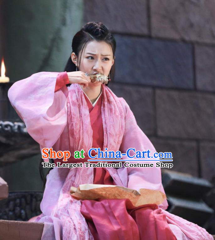 Chinese Drama Zhao Yao Young Lady Traditional Costume Ancient Swordswoman Pink Hanfu Dress for Women