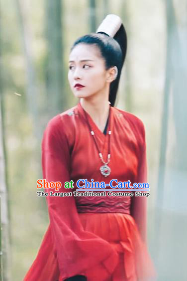 Chinese Ancient Female Knight Red Hanfu Dress Drama Zhao Yao Swordswoman Traditional Costume and Headpiece for Women
