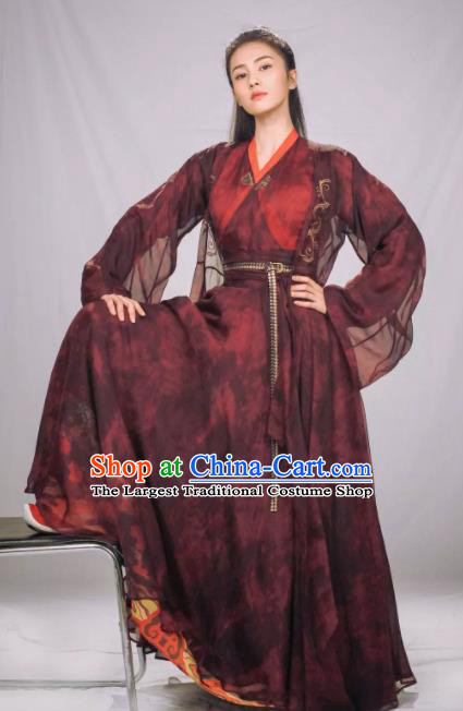 Chinese Ancient Swordswoman Hanfu Dress Drama Zhao Yao Female Knight Traditional Costume for Women