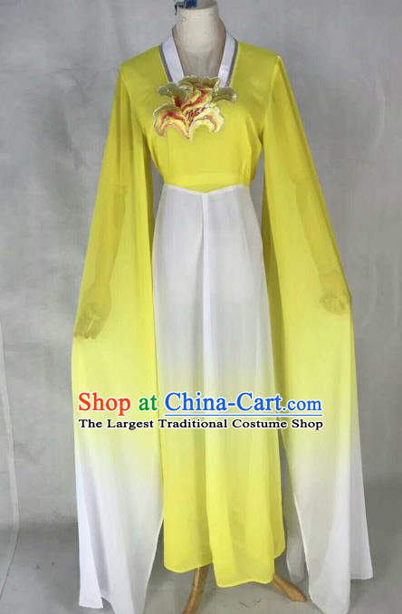 Chinese Traditional Beijing Opera Court Lady Embroidered Yellow Dress Ancient Peri Costume for Women