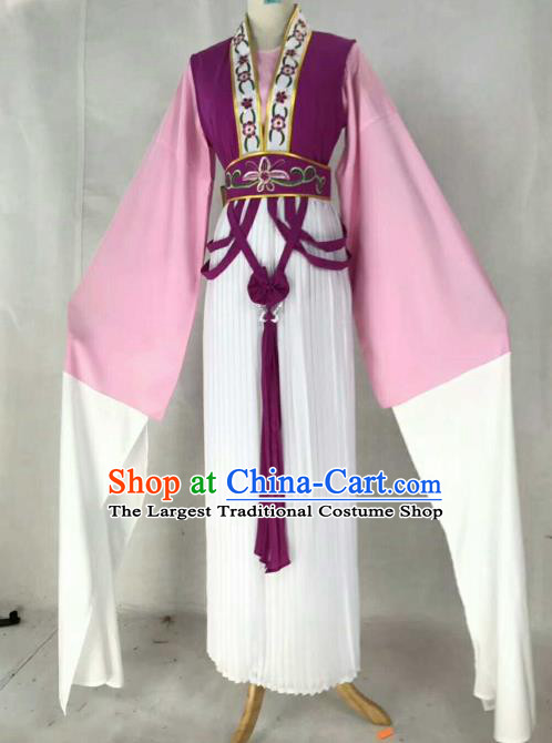 Chinese Traditional Beijing Opera Actress Purple Dress Ancient Maidservants Embroidered Costume for Women