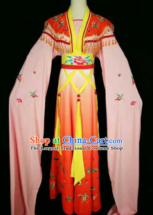 Chinese Traditional Beijing Opera Actress Red Dress Ancient Peri Princess Embroidered Costume for Women