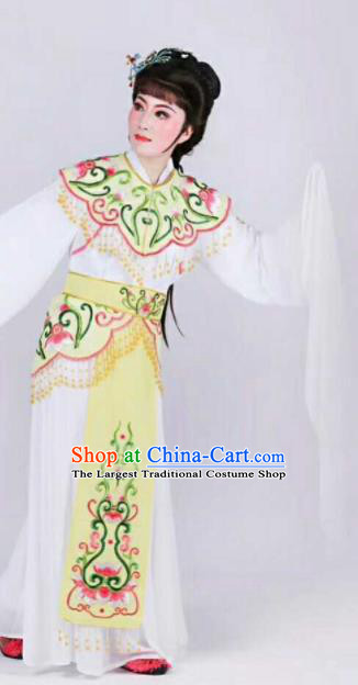Chinese Traditional Beijing Opera Palace Lady Yellow Dress Ancient Peri Princess Embroidered Costume for Women