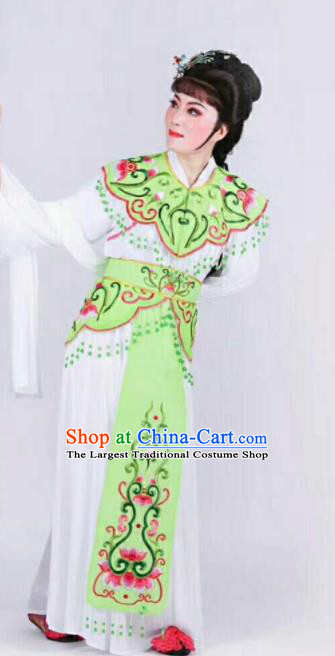 Chinese Traditional Beijing Opera Palace Lady Green Dress Ancient Peri Princess Embroidered Costume for Women