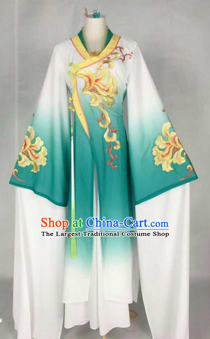 Chinese Traditional Beijing Opera Palace Lady Embroidered Peony Green Dress Ancient Peri Princess Costume for Women