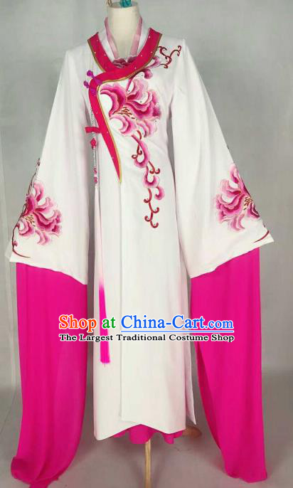 Chinese Traditional Beijing Opera Palace Lady Embroidered Rosy Peony Dress Ancient Peri Princess Costume for Women