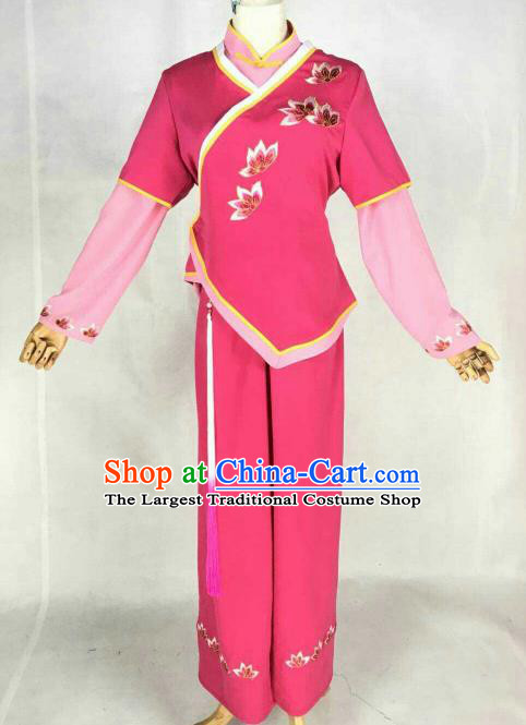 Chinese Traditional Beijing Opera Maidservants Embroidered Rosy Dress Ancient Court Maid Costume for Women