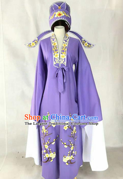 Chinese Traditional Beijing Opera Niche Purple Clothing Ancient Number One Scholar Embroidered Costume for Men