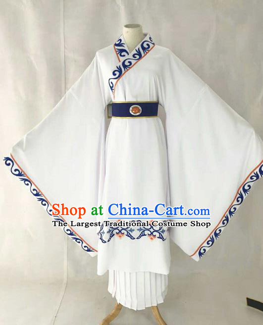 Chinese Traditional Beijing Opera Niche White Clothing Ancient Prince Scholar Embroidered Costume for Men