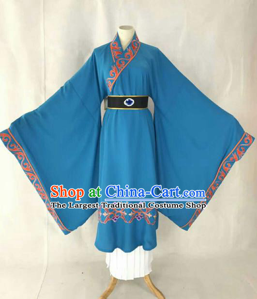 Chinese Traditional Beijing Opera Niche Blue Clothing Ancient Prince Scholar Embroidered Costume for Men