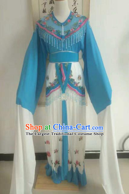 Traditional Chinese Peking Opera Diva Embroidered Blue Dress Ancient Nobility Lady Costume for Women