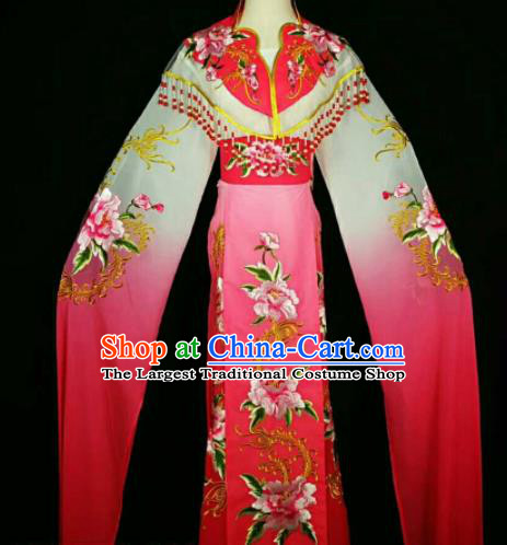 Traditional Chinese Peking Opera Peri Embroidered Peony Rosy Dress Ancient Court Princess Costume for Women