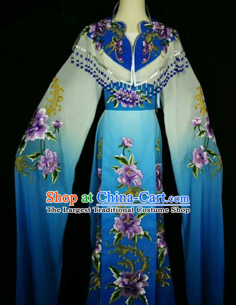 Traditional Chinese Peking Opera Peri Embroidered Peony Blue Dress Ancient Court Princess Costume for Women