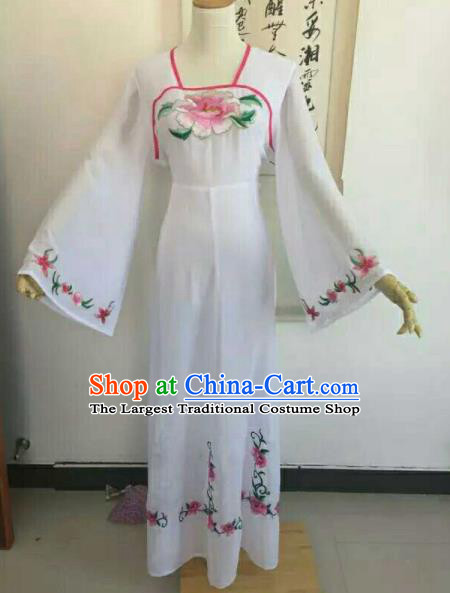 Traditional Chinese Peking Opera Peri Embroidered Pink Peony Dress Ancient Court Lady Costume for Women