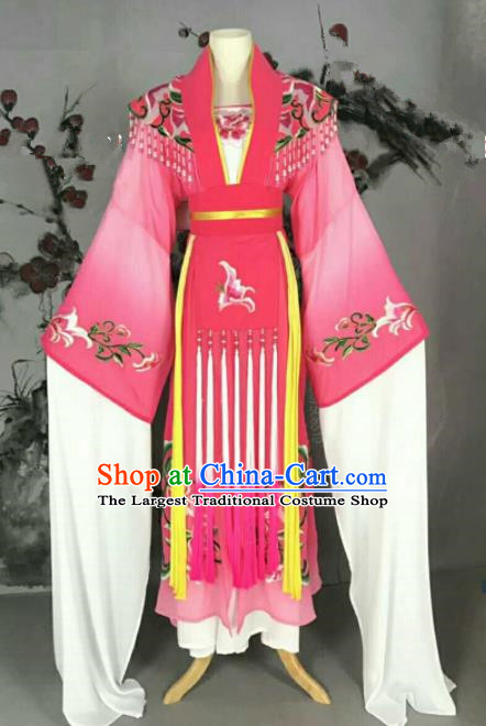 Traditional Chinese Peking Opera Nobility Lady Pink Dress Ancient Peri Princess Costume for Women