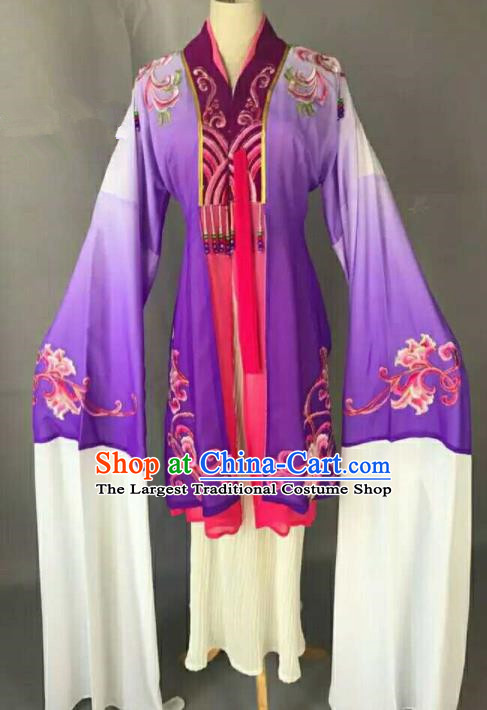 Traditional Chinese Peking Opera Actress Purple Dress Ancient Peri Princess Costume for Women