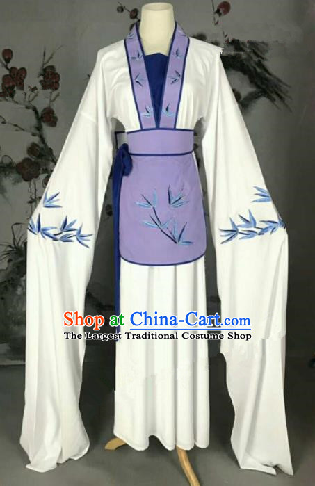 Traditional Chinese Peking Opera Poor Lady White Dress Ancient Maidservants Costume for Women