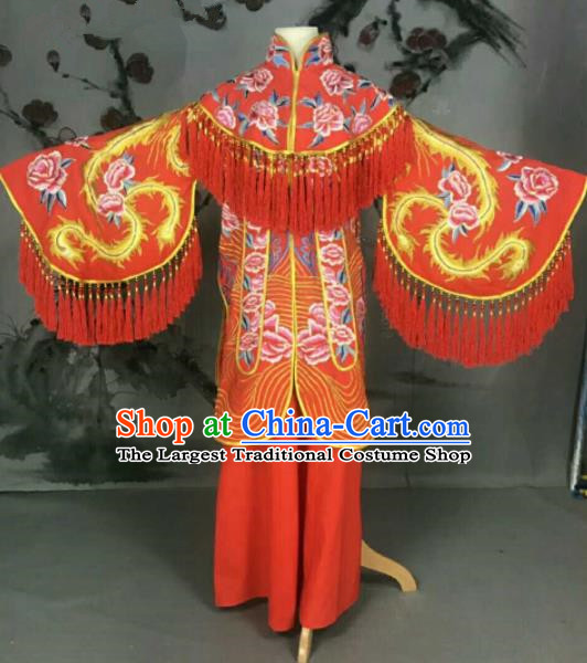 Traditional Chinese Peking Opera Princess Wedding Red Dress Ancient Bride Embroidered Costume for Women