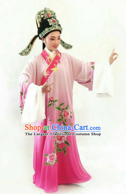 Chinese Traditional Beijing Opera Niche Rosy Robe Ancient Nobility Childe Embroidered Costume for Men
