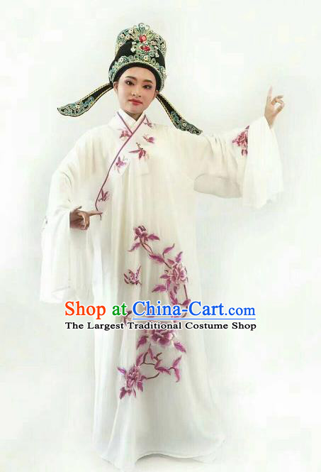 Chinese Traditional Beijing Opera Niche White Robe Ancient Nobility Childe Embroidered Costume for Men