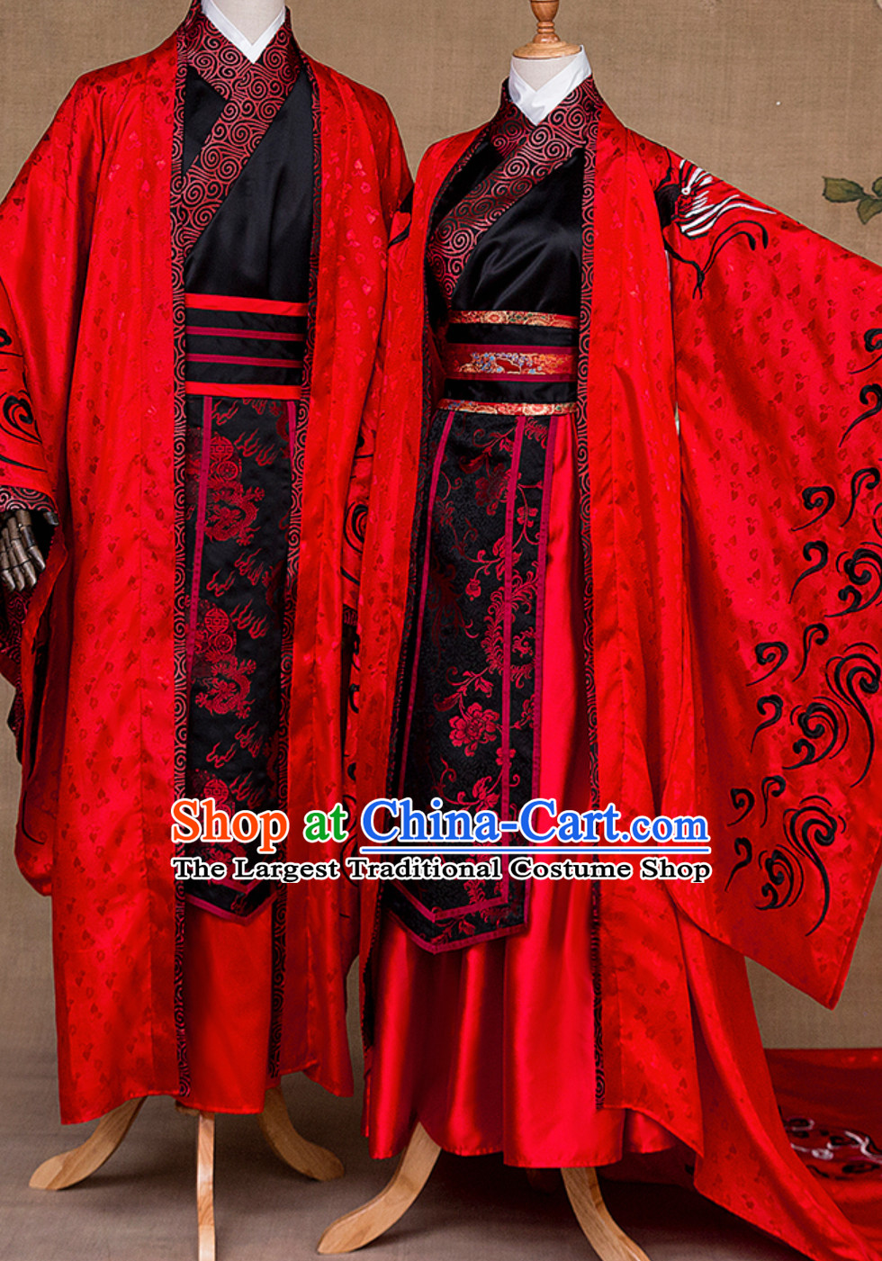 Ancient Chinese Emperor and Empress Royal Imperial Wedding Dresses 2 Complete Sets