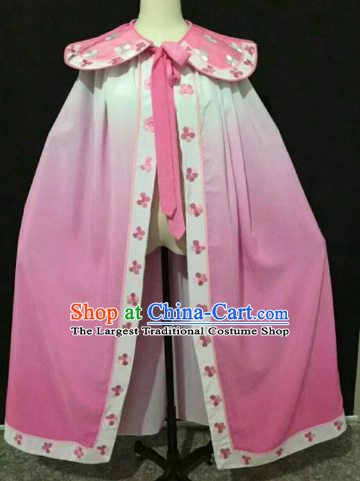 Chinese Traditional Peking Opera Artiste Costume Ancient Swordswoman Embroidered Pink Cape for Women