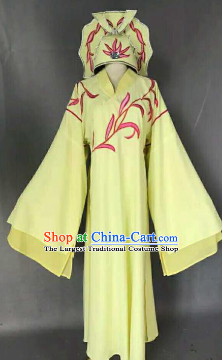 Chinese Traditional Peking Opera Niche Costume Ancient Number One Scholar Embroidered Yellow Robe for Men