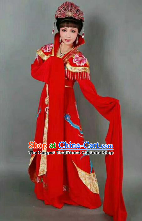 Chinese Traditional Peking Opera Artiste Costume Ancient Queen Embroidered Red Dress for Women