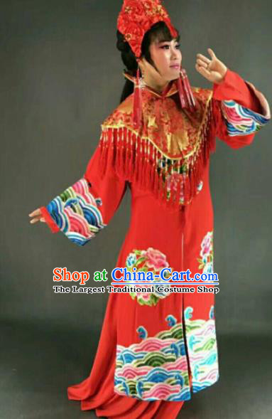 Chinese Traditional Peking Opera Artiste Costume Ancient Bride Embroidered Red Dress for Women