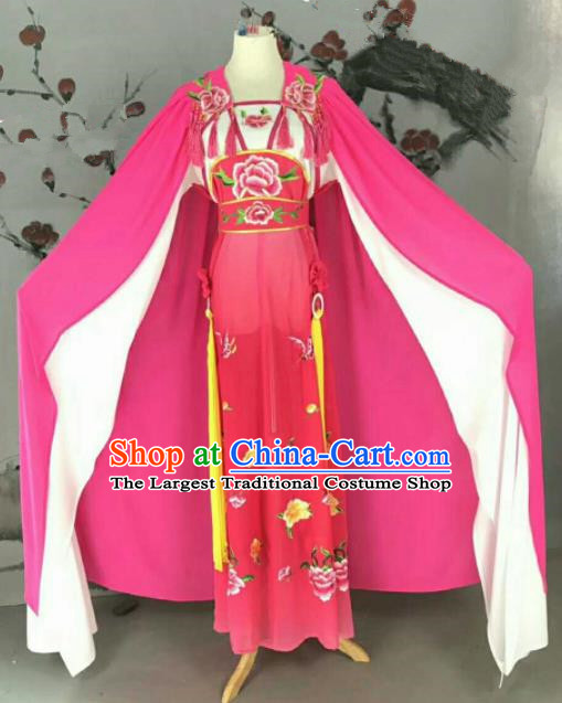 Chinese Traditional Peking Opera Artiste Costume Ancient Swordswoman Embroidered Rosy Dress for Women