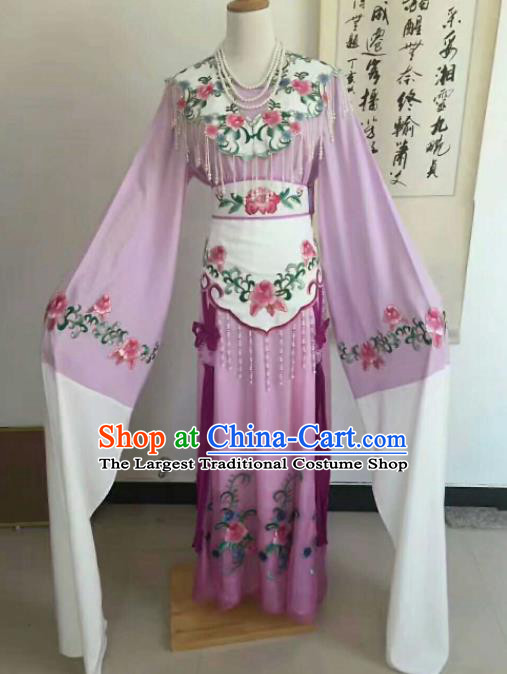 Chinese Traditional Peking Opera Artiste Costume Ancient Princess Embroidered Purple Dress for Women