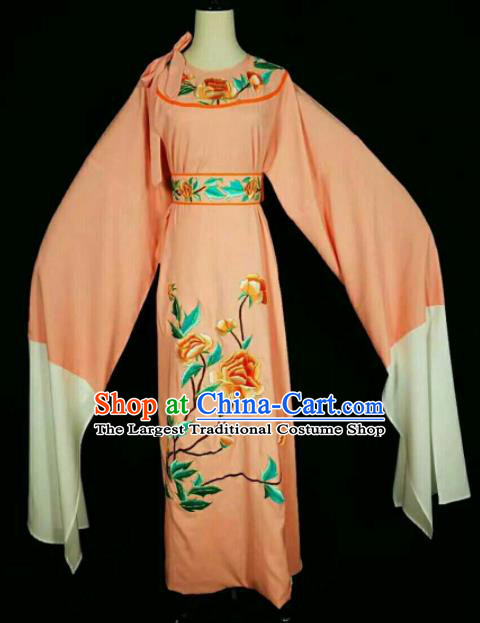 Chinese Traditional Peking Opera Niche Costume Ancient Scholar Embroidered Orange Robe for Men