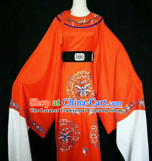 Chinese Traditional Peking Opera Niche Costume Ancient Prince Embroidered Red Robe for Men