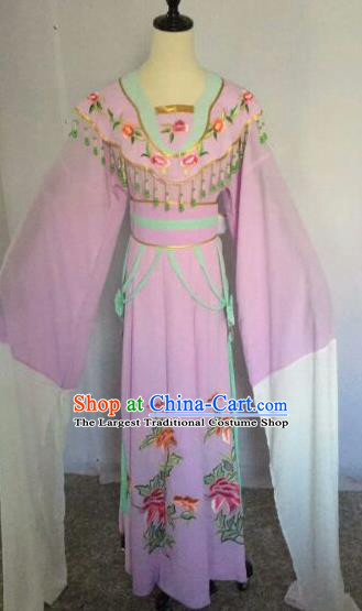 Chinese Traditional Peking Opera Artiste Costume Ancient Court Maid Embroidered Purple Dress for Women